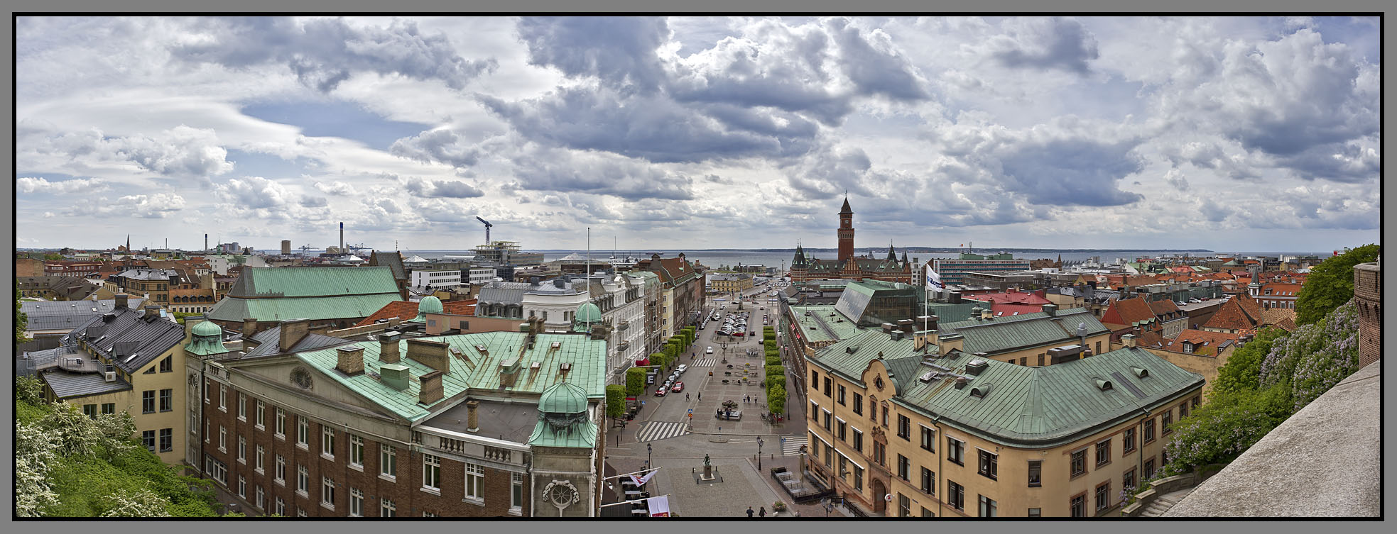 Sweden, Helsingborg; Karnan Tower - view from the top